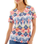 Alfred Dunner® Paradise Island Butterfly Burnout Top
