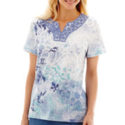 Alfred Dunner® Paradise Island Short-Sleeve Lace Yoke Monotone Top