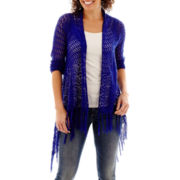 Unity® Long-Sleeve Crochet Cardigan with Fringe - Petite