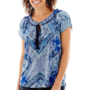 Unity® Short-Sleeve Chateau Lace Print Peasant Top - Petite