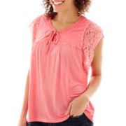 Unity® Short-Sleeve Oil-Wash Lace-Trim Peasant Top - Petite