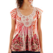Unity® Cap-Sleeve Crochet-Trim Legacy Knit Sublimation Top - Petite