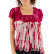 Unity® Short-Sleeve Tie-Dyed Crochet-Trim Top - Petite