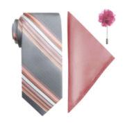 JF J. Ferrar® 3-pc. Tie, Pocket Square and Lapel Pin Set