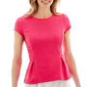 Liz Claiborne® Short-Sleeve Knit Peplum Top