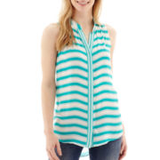 Stylus™ Sleeveless Striped Button-Front Shirt