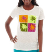 Stylus™ Short-Sleeve Slub Knit Graphic T-Shirt -Petite
