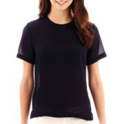 MNG by Mango® Short-Sleeve Textured Zip-Back Top