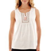 St. John's Bay® Sleeveless Embroidered Top