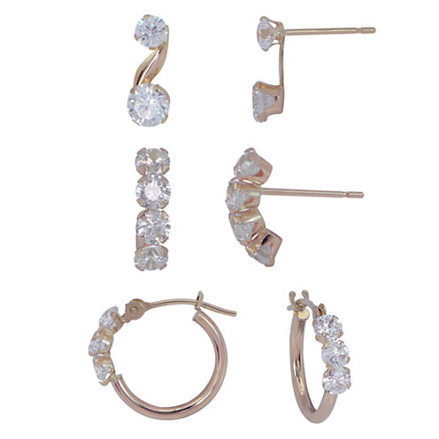 3 Pair White Cubic Zirconia 10K Gold Earring Sets