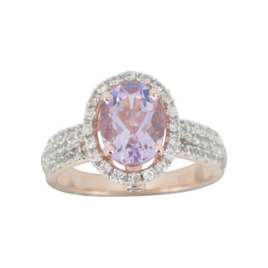 jcpenney.com | Rose Gold-Plated Genuine Amethyst & Lab-Created White Sapphire Ring