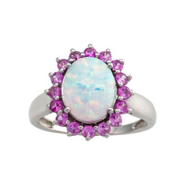 jcpenney.com | Sterling Silver Lab-Created Opal & Pink Sapphire Ring