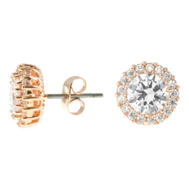 jcpenney.com | CZ by Kenneth Jay Lane 18K Rose-Plated Stud Earrings with Pavé Trim