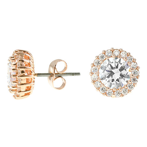 CZ by Kenneth Jay Lane 18K Rose-Plated Stud Earrings with Pavé Trim