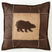 Scene Weaver™ Bear Faux Leather/Suede Pillow