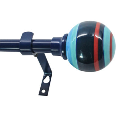 jcpenney.com | Decopolitan Blue Striped Ball Curtain Rod Collection