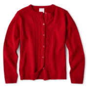IZOD® Long-Sleeve Cable-Front Cardigan - Girls 4-18 and Girls Plus