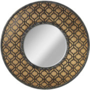 Geometric and Burlap Round Wall Mirror