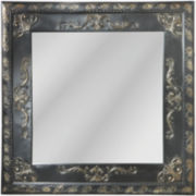 Black Embossed Square Wall Mirror