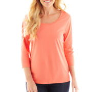 St. John's Bay® 3/4-Sleeve Scoopneck Top