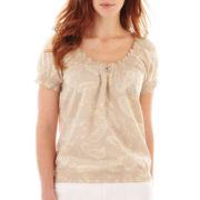 St. John's Bay® Short-Sleeve Smocked Paisley Peasant Top