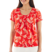 St. John's Bay® Short-Sleeve Smocked Paisley Peasant Top - Petite