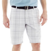 Lee® Belted Flat-Front Shorts