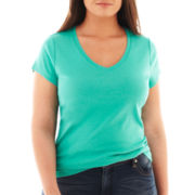 jcp™ Short-Sleeve Ribbed V-Neck Tee - Plus