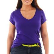 jcp™ Short-Sleeve Ribbed V-Neck Tee - Plus