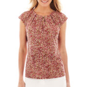 Liz Claiborne Cap-Sleeve Pleat-Neck Top