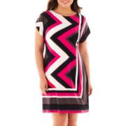 Studio 1® Dolman-Sleeve Chevron Print Dress - Plus