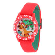 Disney Collection Lion Guard Boys Red Plastic Numbered Bezel Nylon Strap Watch