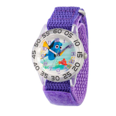 jcpenney.com | Disney Collection Girls Silver-Tone & Purple Numbered Bezel Finding Dory Watch