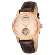 Thomas Earnshaw Mens  Brown And Rose Gold Tone Flinders Leather Strap Watch Es-8014-05