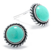 Silver Treasures Blue Stud Earrings