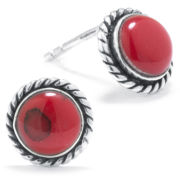 Silver Treasures Red Stud Earrings
