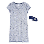 Sleep Chic Cotton Nightshirt with Eye Mask - Plus