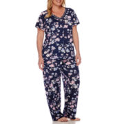 Earth Angels® Button-Front Pajama Pants Set - Plus