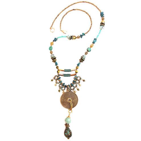Aris by Treska Gold-Tone Beaded Pendant Necklace
