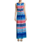 Donna Ricco Sleeveless Watercolor Stripe Keyhole Maxi Dress