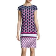 Liz Claiborne® Cap-Sleeve Circle Dot Print Shift Dress
