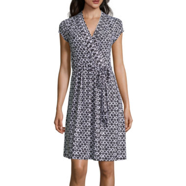 jcpenney.com | Liz Claiborne® Cap-Sleeve Diamond-Geo Wrap Dress