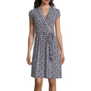 Liz Claiborne® Cap-Sleeve Diamond-Geo Wrap Dress