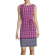 Liz Claiborne® Sleeveless Geo-Print Self-Tie Shift Dress