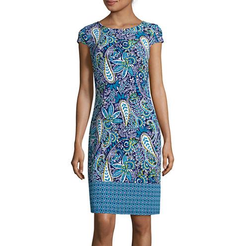 Liz Claiborne® Cap-Sleeve Paisley-Print Shift Dress