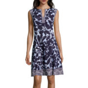 Liz Claiborne® Cap-Sleeve Floral-Print Fit-and-Flare Dress