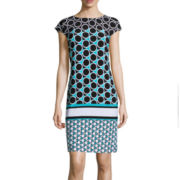 Liz Claiborne® Cap-Sleeve Circle Dot Print Shift Dress