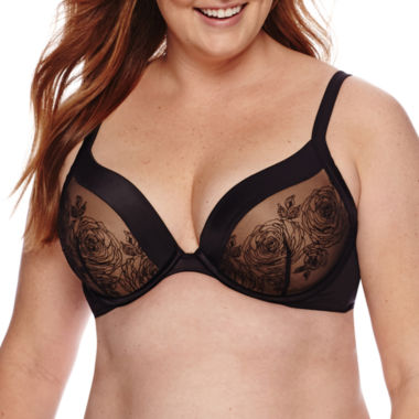jcpenney.com | Ambrielle® Full-Figure Embroidered Plunge Underwire Bra - 125582