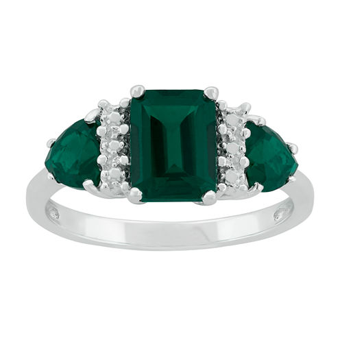 Lab-Created Emerald Sterling Silver Ring