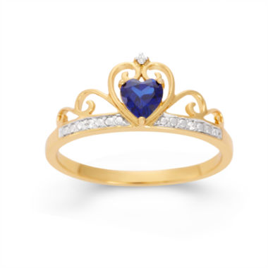jcpenney.com | Lab-Created Heart-Shaped Blue Sapphire & Cubic Zirconia 18K Gold Over Silver Ring
